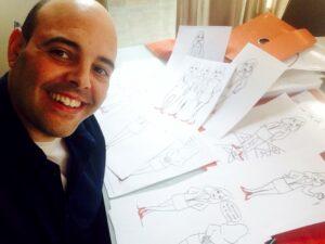 Aquí mi adorado Mario López Guerrero en el proceso de creación de los dibujos para Marca Eres Tú